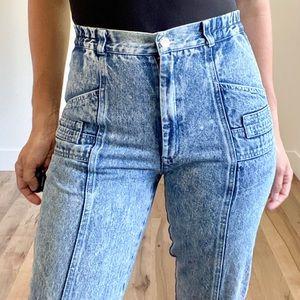 VINTAGE Skinny washed denim high rise jean
